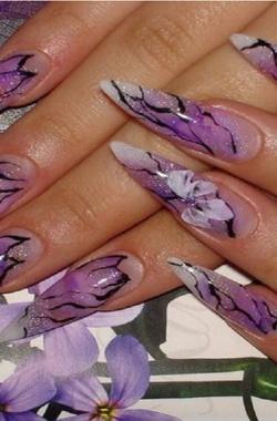 Нарощенные ногти с блёстками