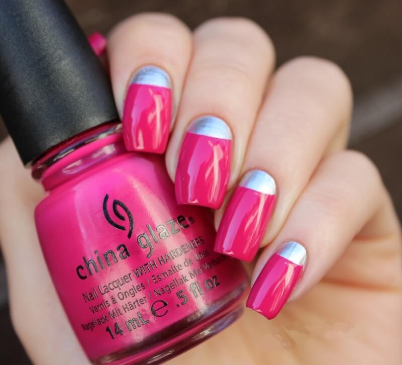 Серо-розовый лунный маникюр
