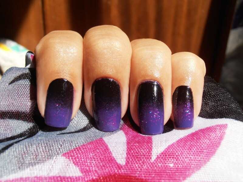 Градиентный фиолетовый маникюр