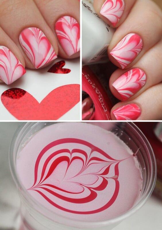 Водный розовый маникюр
