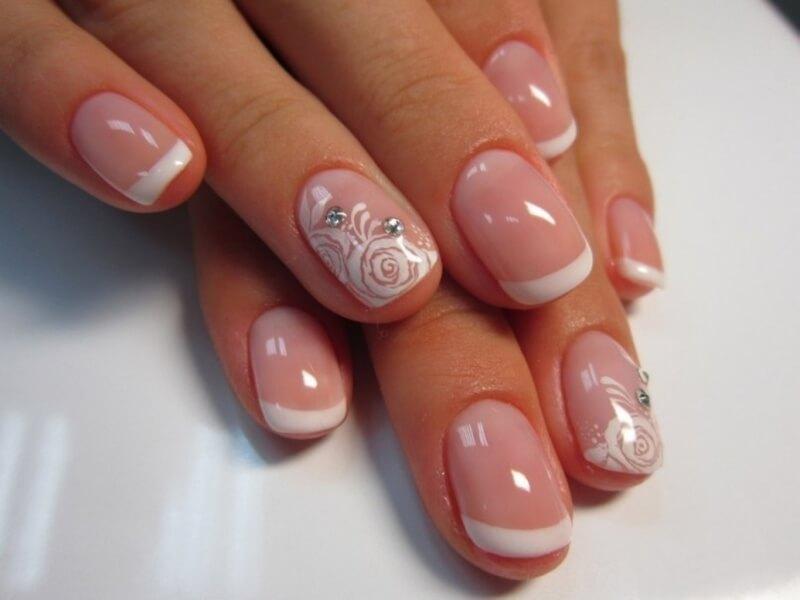 Свадебный дизайн на коротких ногтях