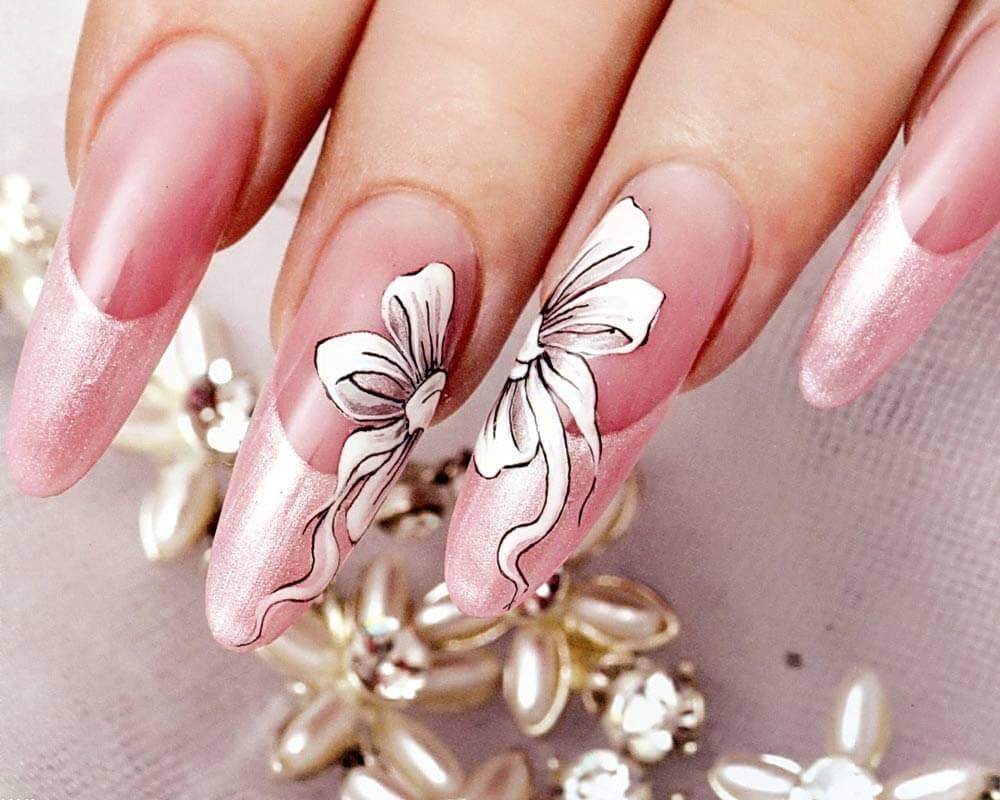 Маникюр невесты на длинные ногти